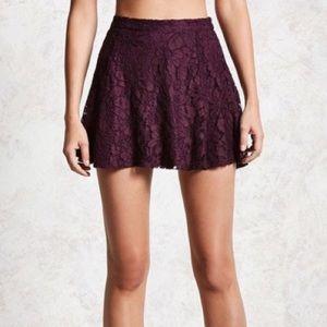Purple lace Irridescent skater mini skirt